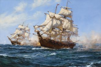 Montague Dawson – The Privateer 'Virginian' capturing the 'Petit Madelon'