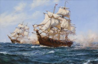 Montague Dawson - The Privateer 'Virginian' capturing the 'Petit Madelon'